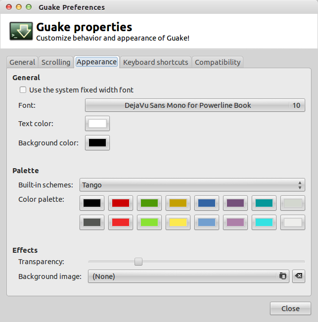 Guake Appearance Preferences